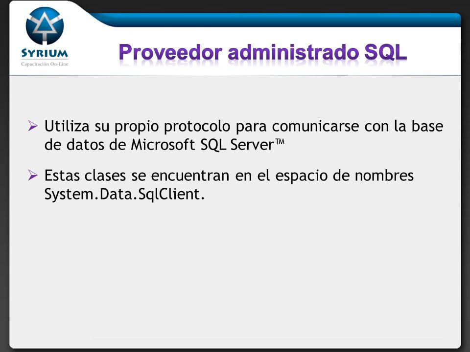 Proveedor administrado SQL