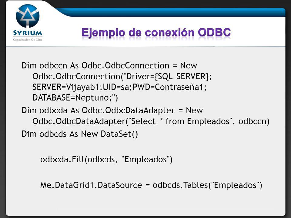 Ejemplo de conexión ODBC