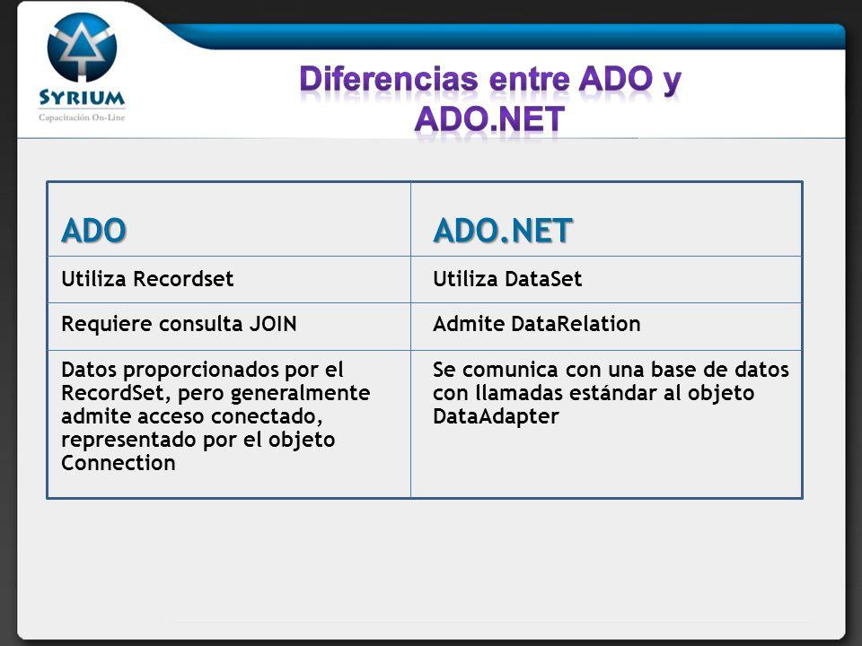 Diferencias entre ADO y ADO.NET