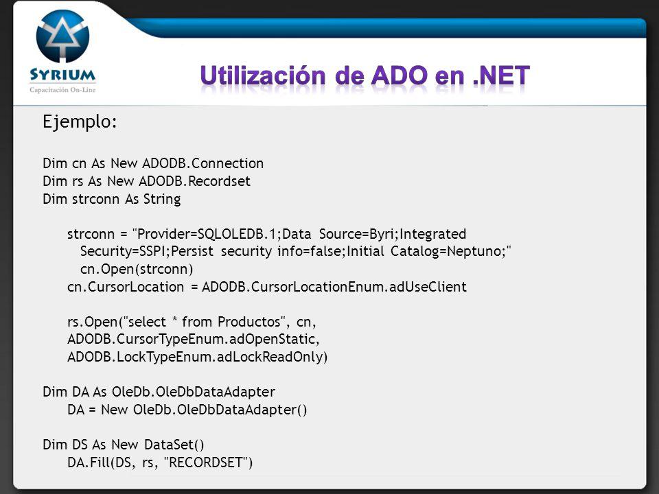 Utilización de ADO en .NET