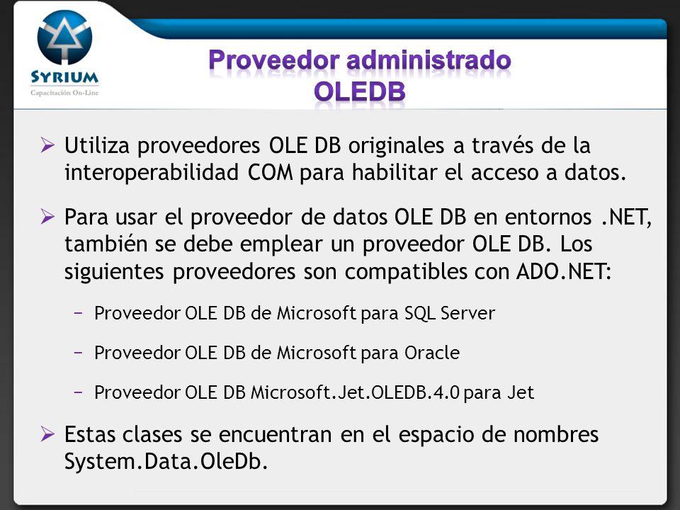 Proveedor administrado OLEDB