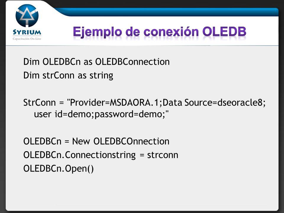 Ejemplo de conexión OLEDB