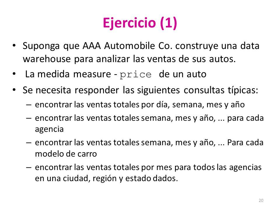 Ejercicio (1) Suponga que AAA Automobile Co. construye una data warehouse para analizar las ventas de sus autos.