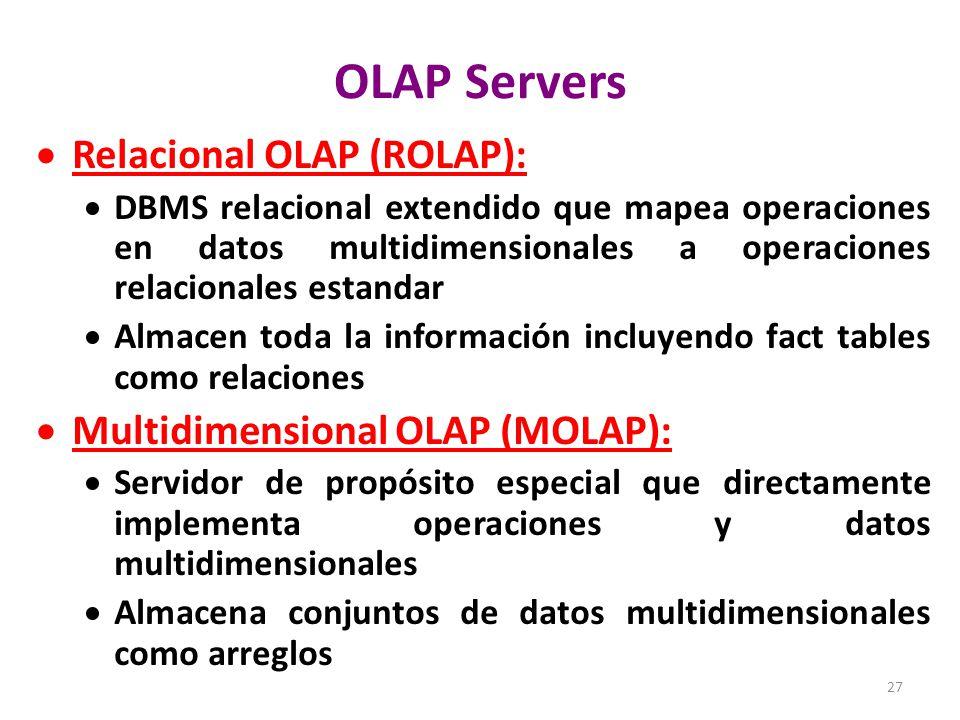 OLAP Servers Relacional OLAP (ROLAP): Multidimensional OLAP (MOLAP):
