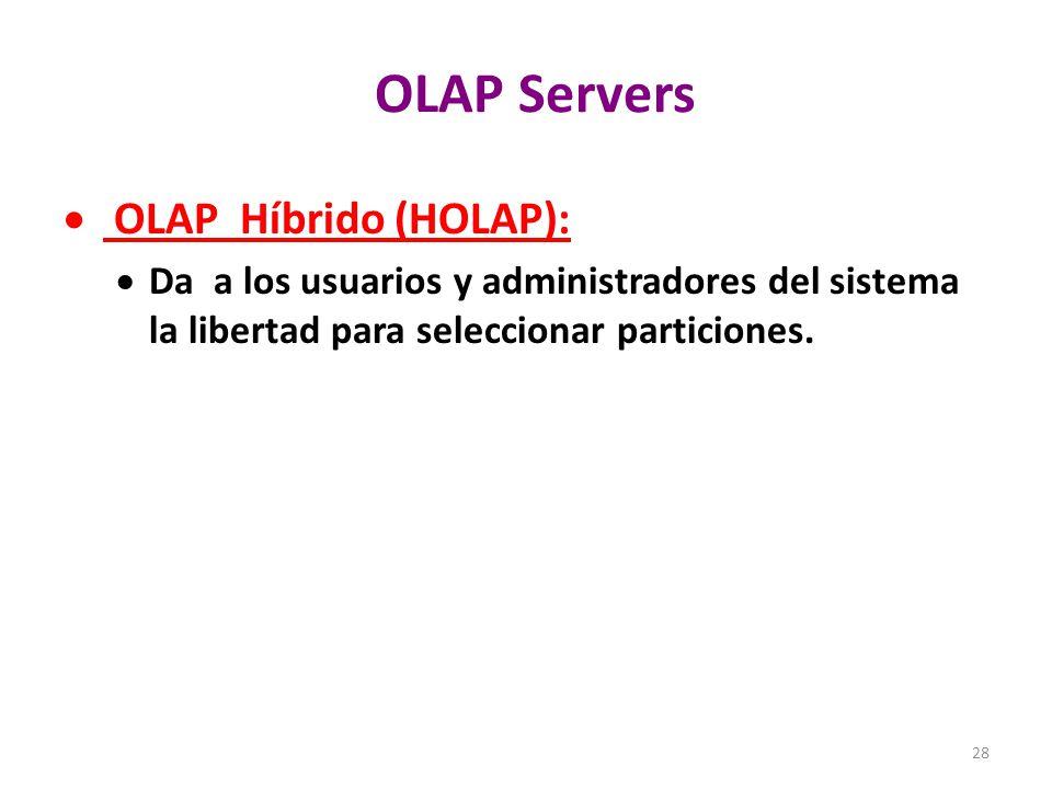OLAP Servers OLAP Híbrido (HOLAP):