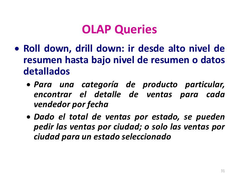 OLAP Queries Roll down, drill down: ir desde alto nivel de resumen hasta bajo nivel de resumen o datos detallados.