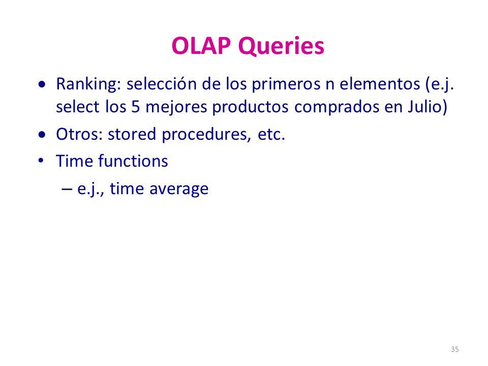 OLAP Queries Ranking: selección de los primeros n elementos (e.j. select los 5 mejores productos comprados en Julio)