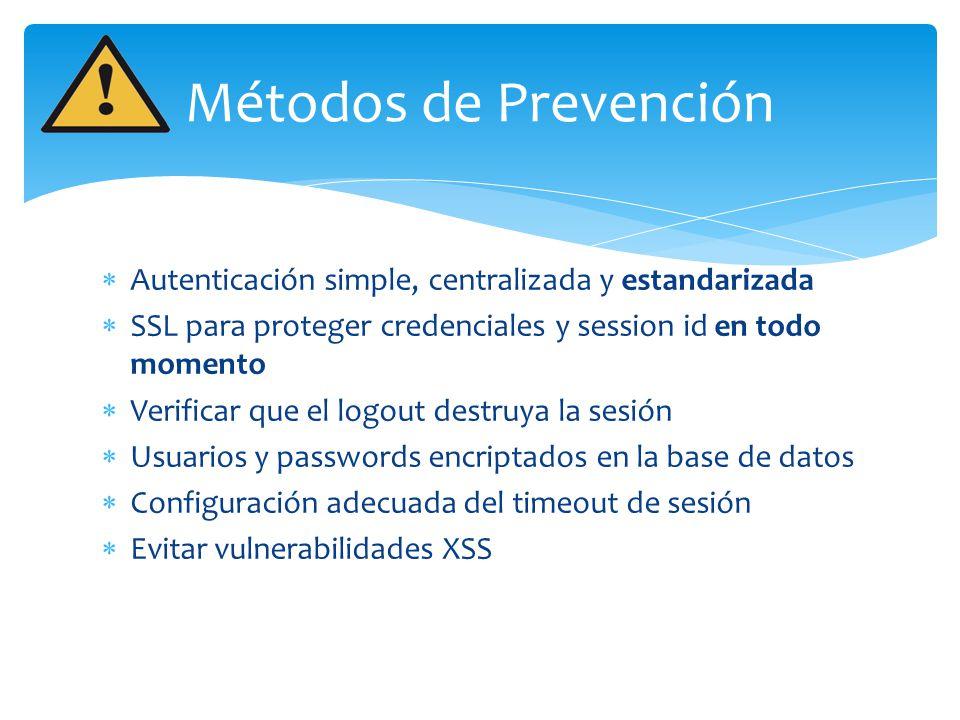 Métodos de Prevención Autenticación simple, centralizada y estandarizada. SSL para proteger credenciales y session id en todo momento.