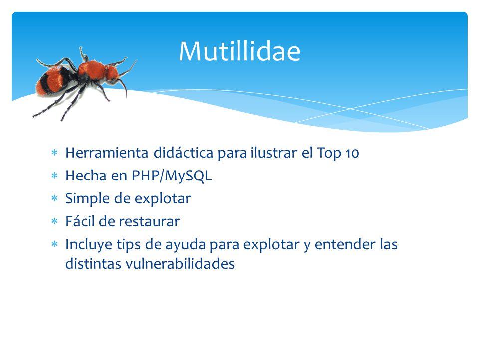 Mutillidae Herramienta didáctica para ilustrar el Top 10