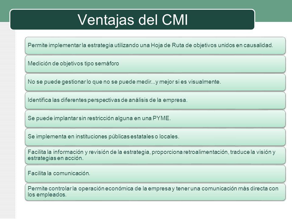 Ventajas del CMI Permite implementar la estrategia utilizando una Hoja de Ruta de objetivos unidos en causalidad.