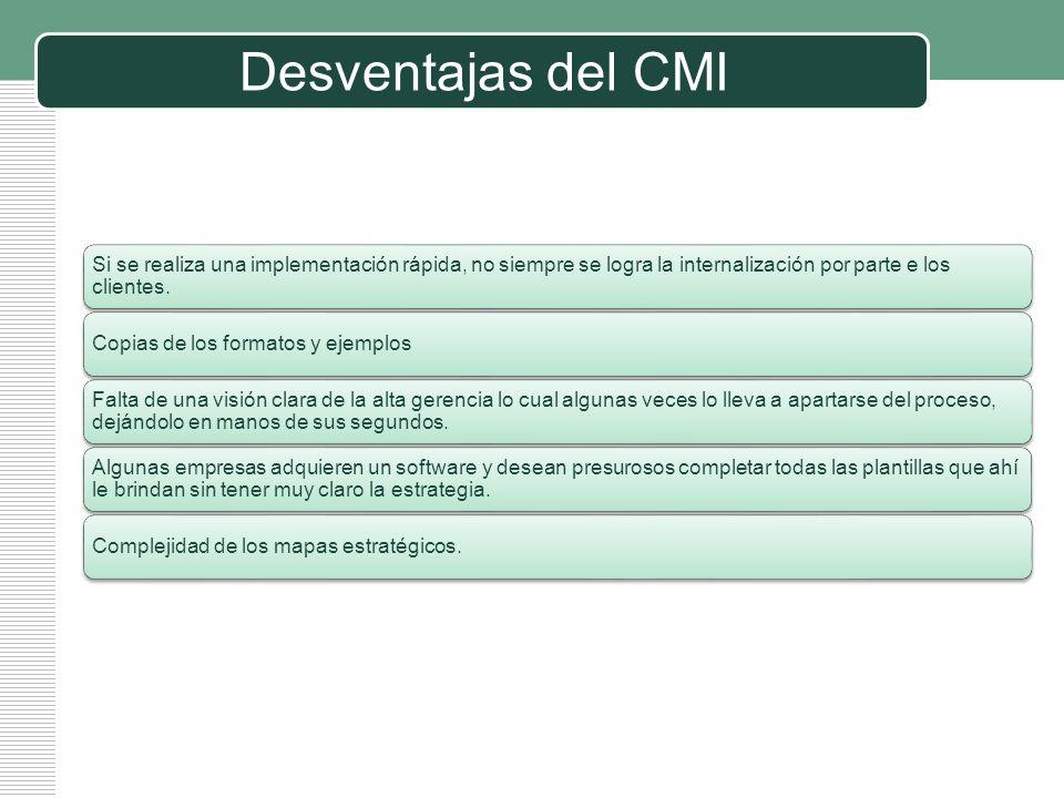 Desventajas del CMI Si se realiza una implementación rápida, no siempre se logra la internalización por parte e los clientes.