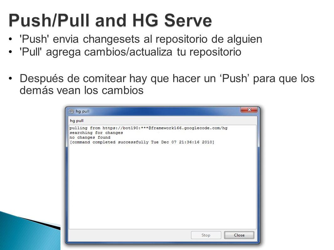 Push/Pull and HG Serve Push envia changesets al repositorio de alguien. Pull agrega cambios/actualiza tu repositorio.