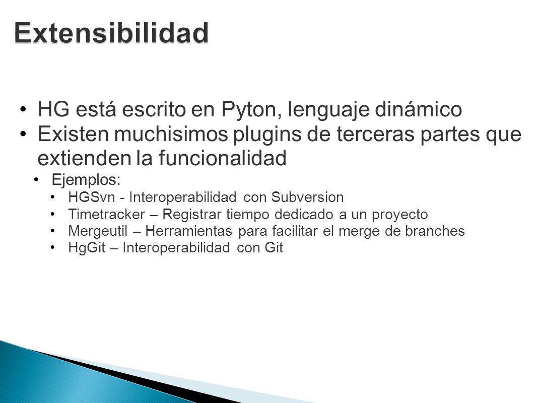 Extensibilidad HG está escrito en Pyton, lenguaje dinámico