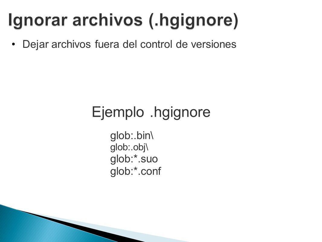 Ignorar archivos (.hgignore)