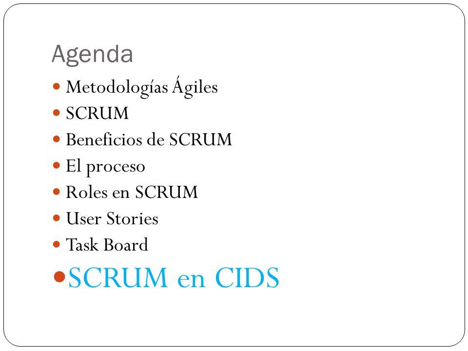 SCRUM en CIDS Agenda Metodologías Ágiles SCRUM Beneficios de SCRUM