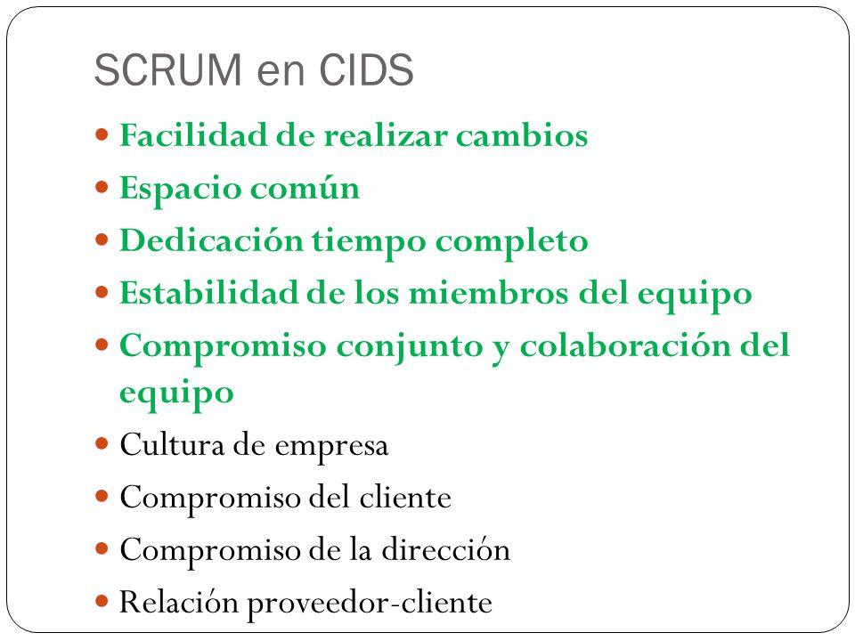 SCRUM en CIDS Facilidad de realizar cambios Espacio común