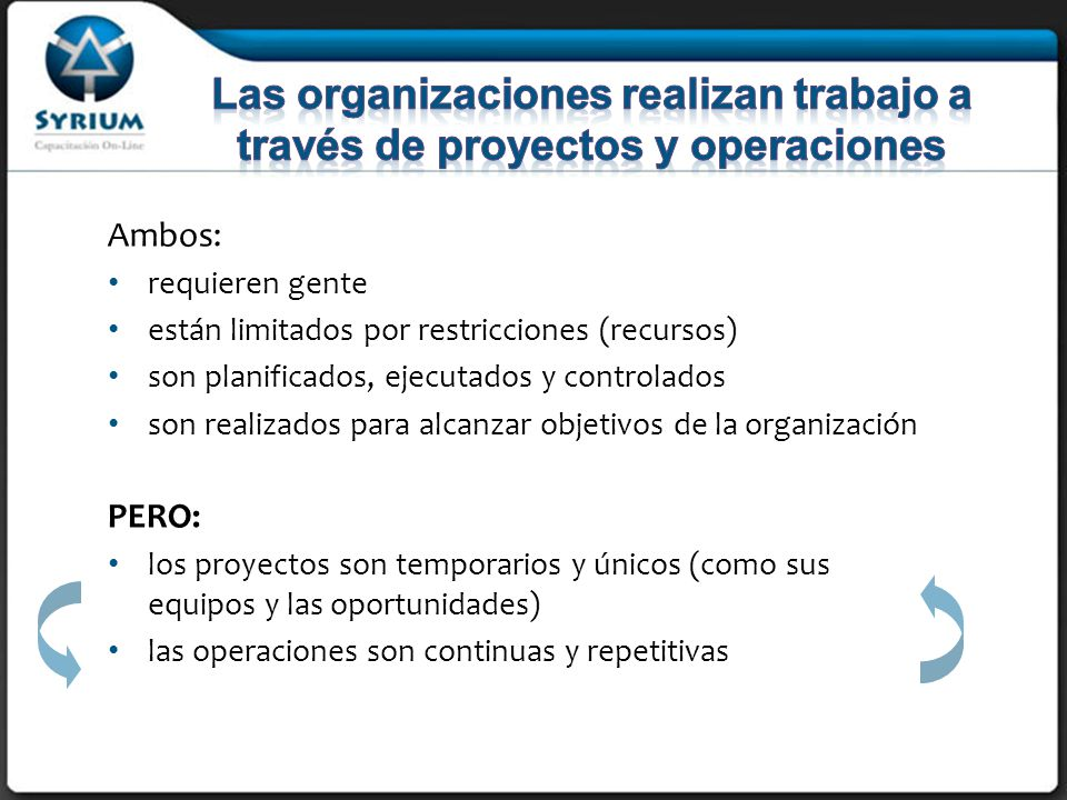 Las organizaciones realizan trabajo a través de proyectos y operaciones