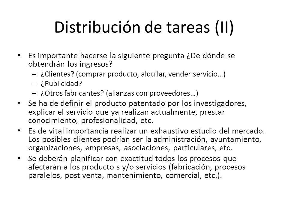 Distribución de tareas (II)