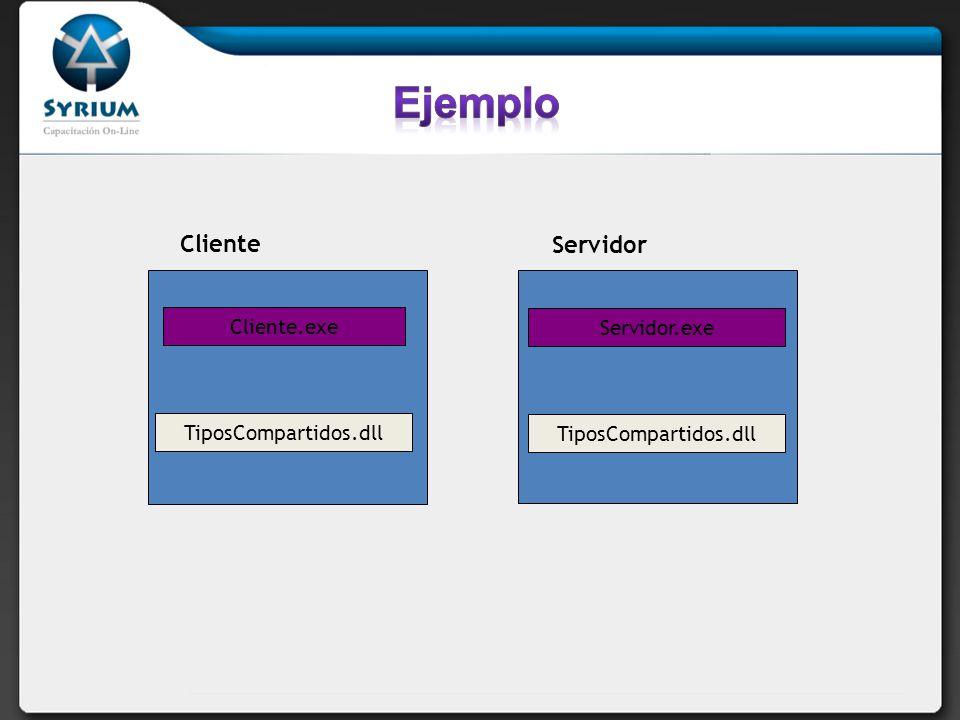 Ejemplo Cliente Servidor Cliente.exe Servidor.exe TiposCompartidos.dll