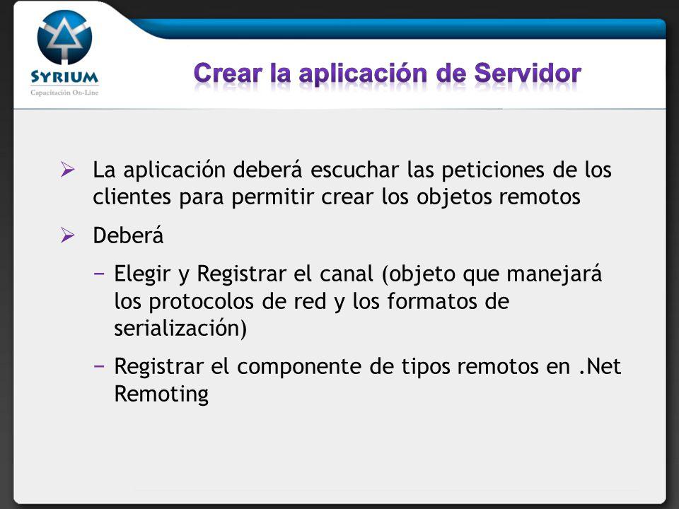 Crear la aplicación de Servidor
