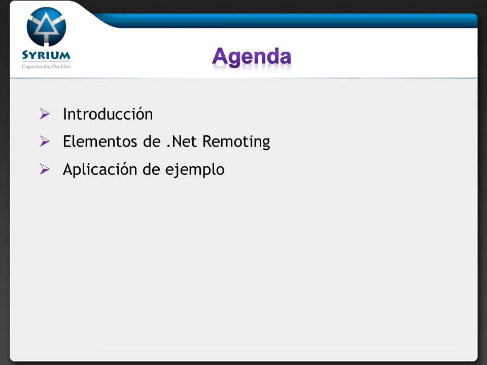 Agenda Introducción Elementos de .Net Remoting Aplicación de ejemplo