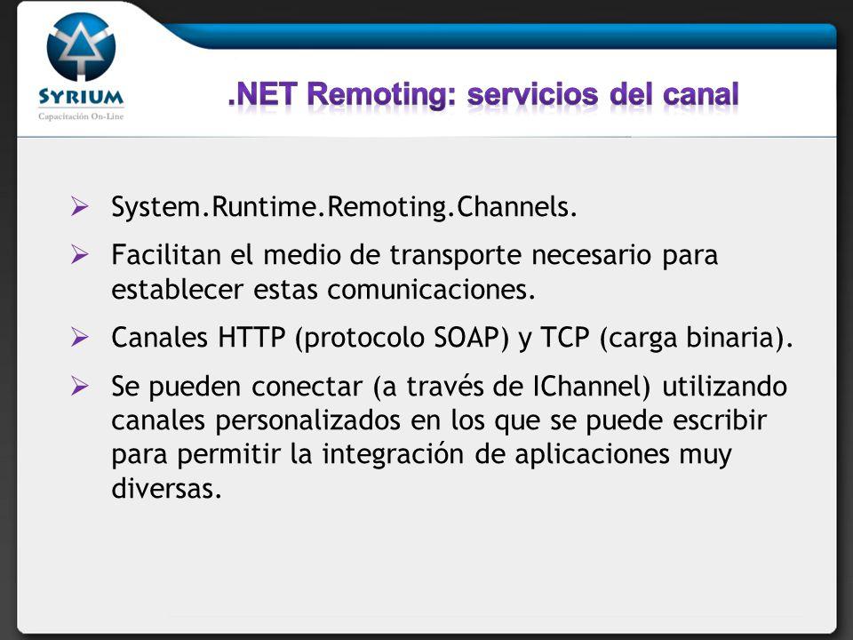 .NET Remoting: servicios del canal