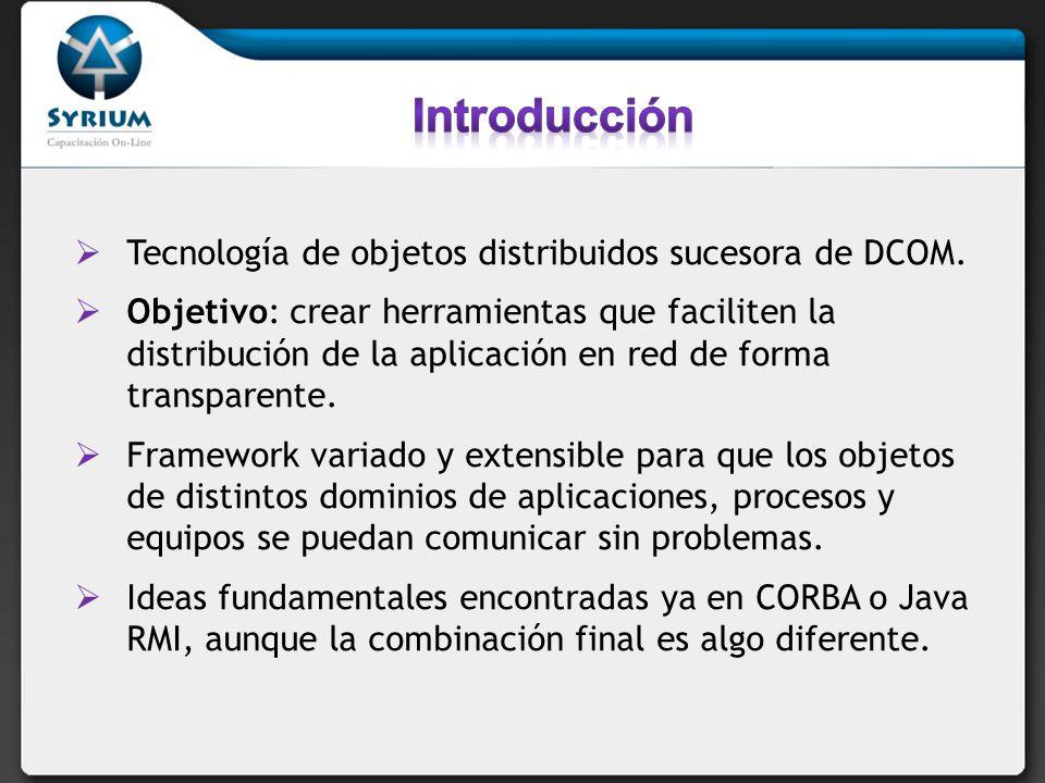 Introducción Tecnología de objetos distribuidos sucesora de DCOM.