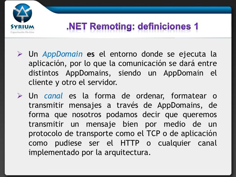 .NET Remoting: definiciones 1