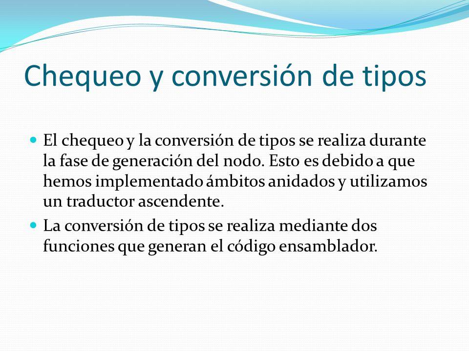 Chequeo y conversión de tipos