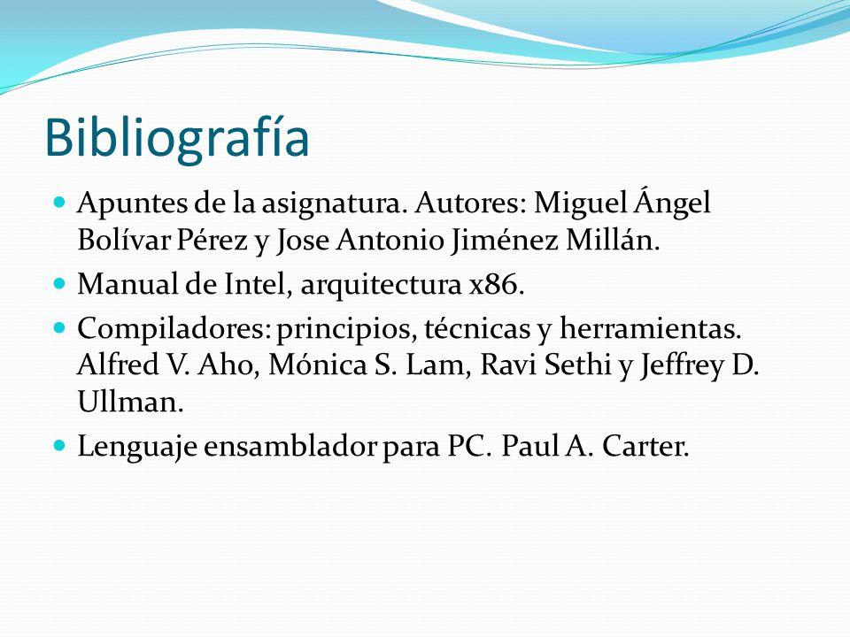 Bibliografía Apuntes de la asignatura. Autores: Miguel Ángel Bolívar Pérez y Jose Antonio Jiménez Millán.