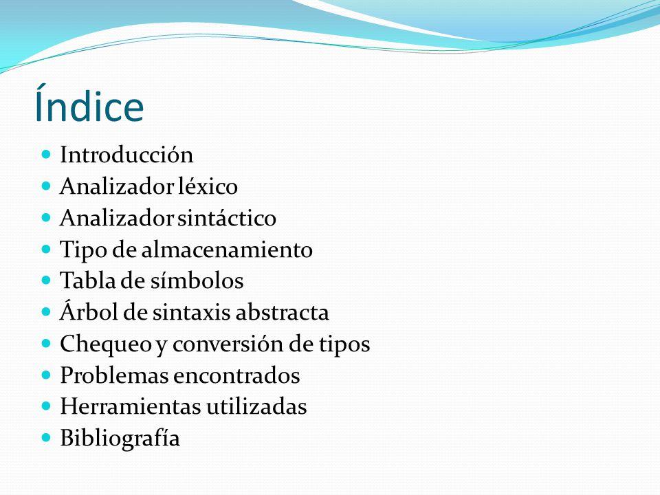 Índice Introducción Analizador léxico Analizador sintáctico