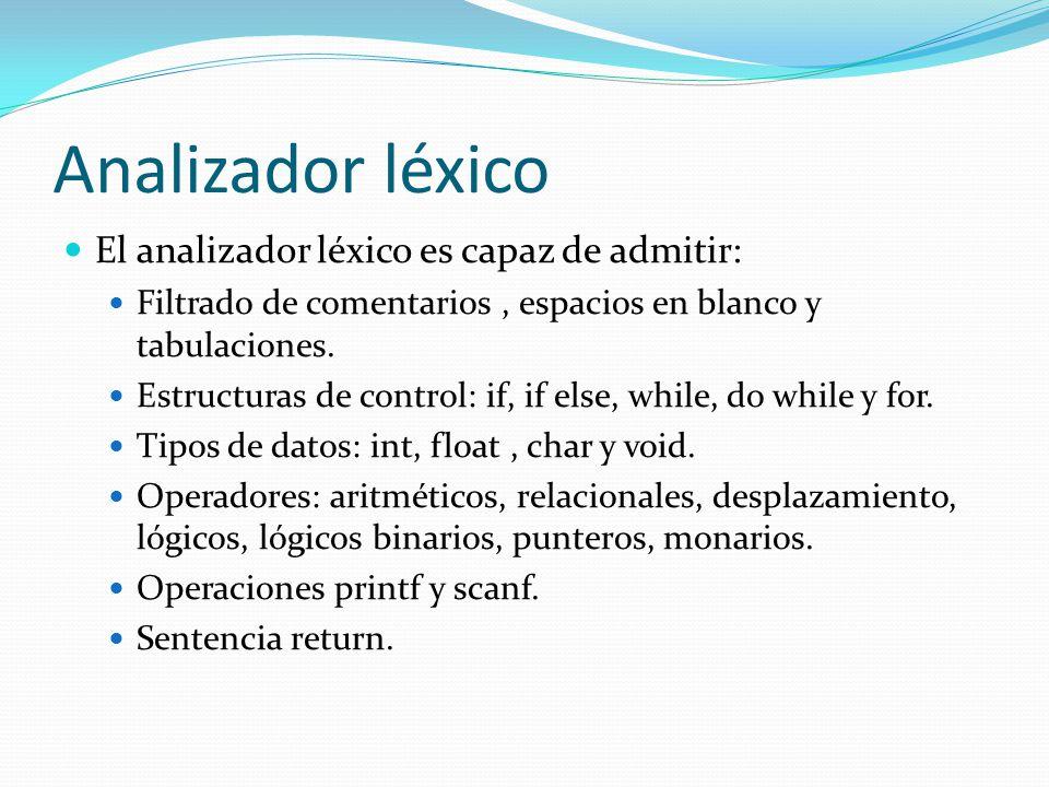 Analizador léxico El analizador léxico es capaz de admitir: