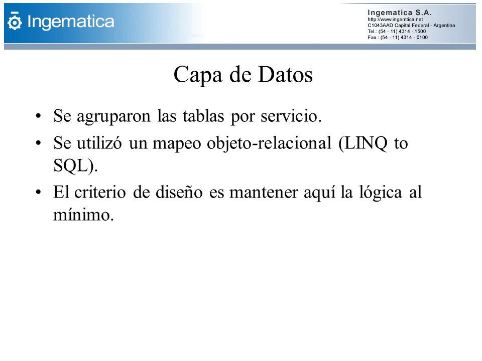 Capa de Datos Se agruparon las tablas por servicio.