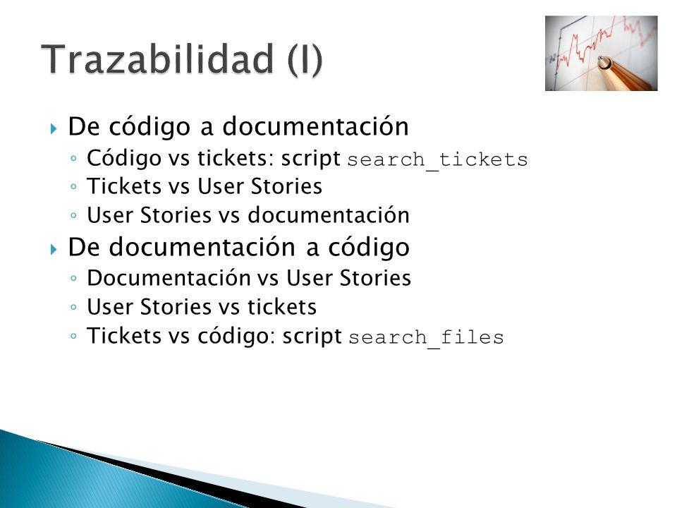 Trazabilidad (I) De código a documentación De documentación a código