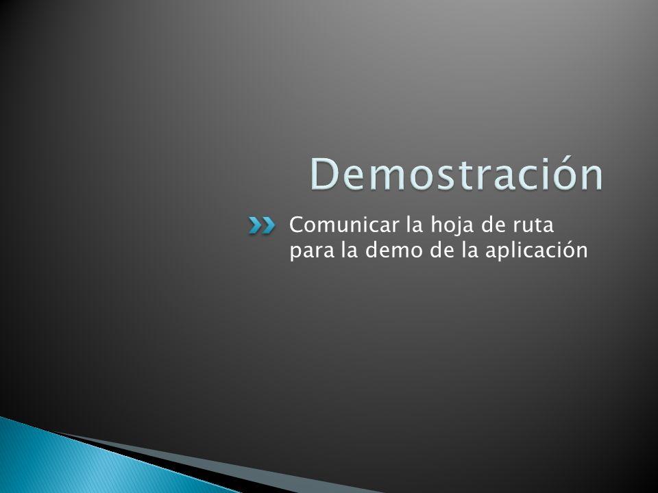 Demostración Comunicar la hoja de ruta para la demo de la aplicación