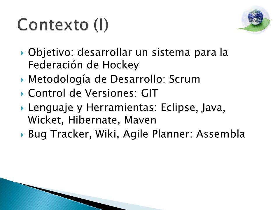 Contexto (I) Objetivo: desarrollar un sistema para la Federación de Hockey. Metodología de Desarrollo: Scrum.