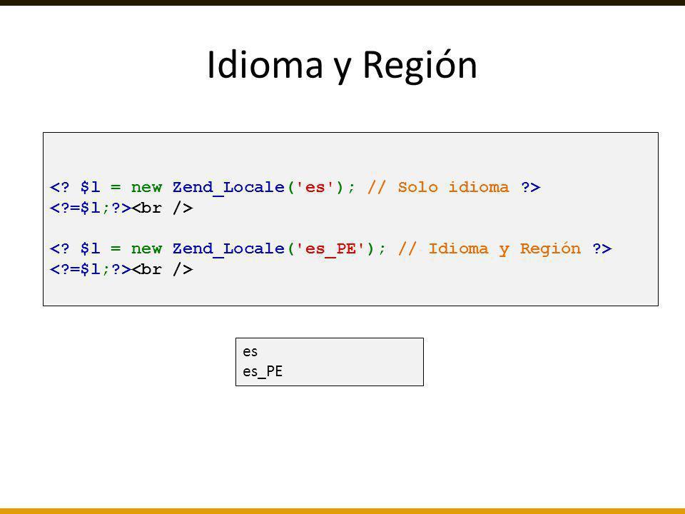Idioma y Región