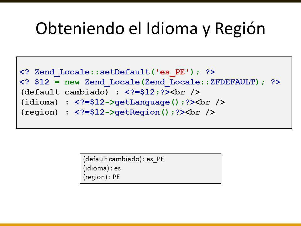 Obteniendo el Idioma y Región
