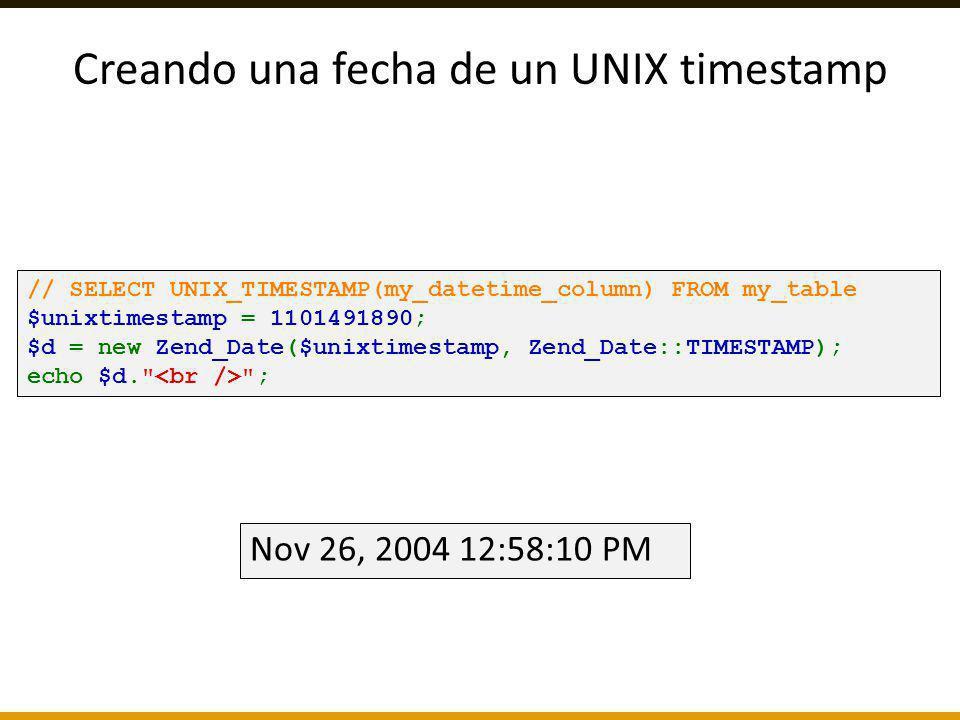 Creando una fecha de un UNIX timestamp
