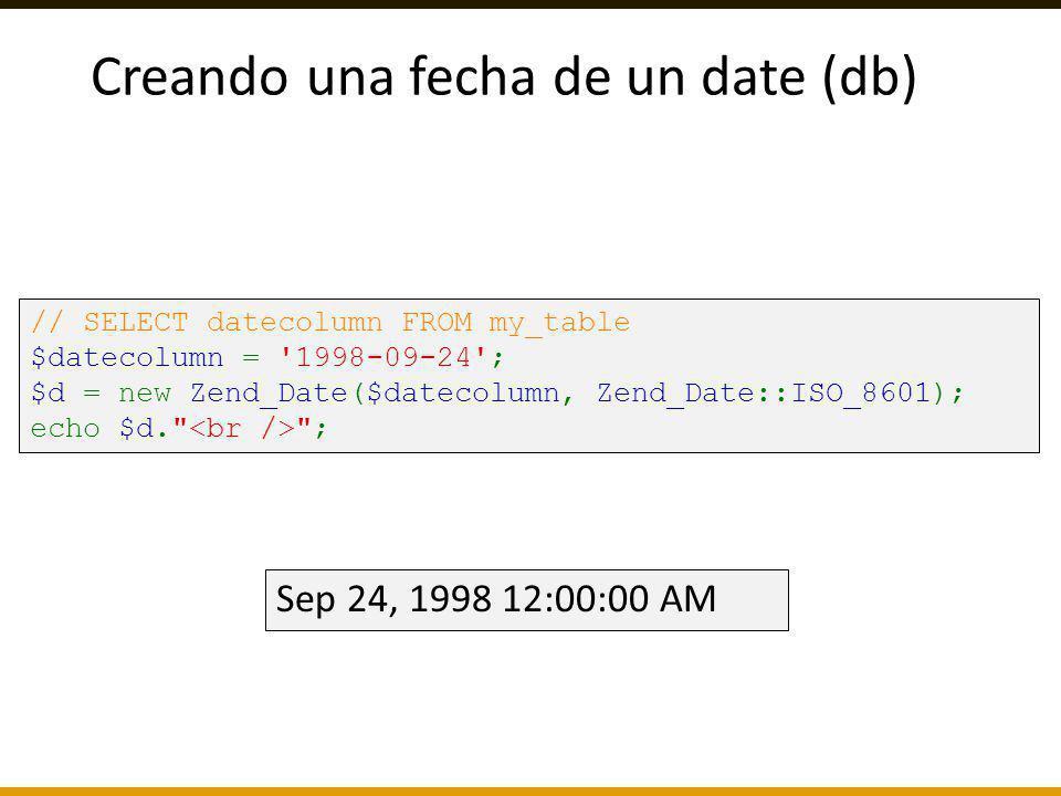 Creando una fecha de un date (db)