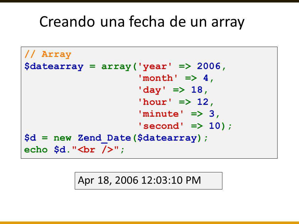 Creando una fecha de un array