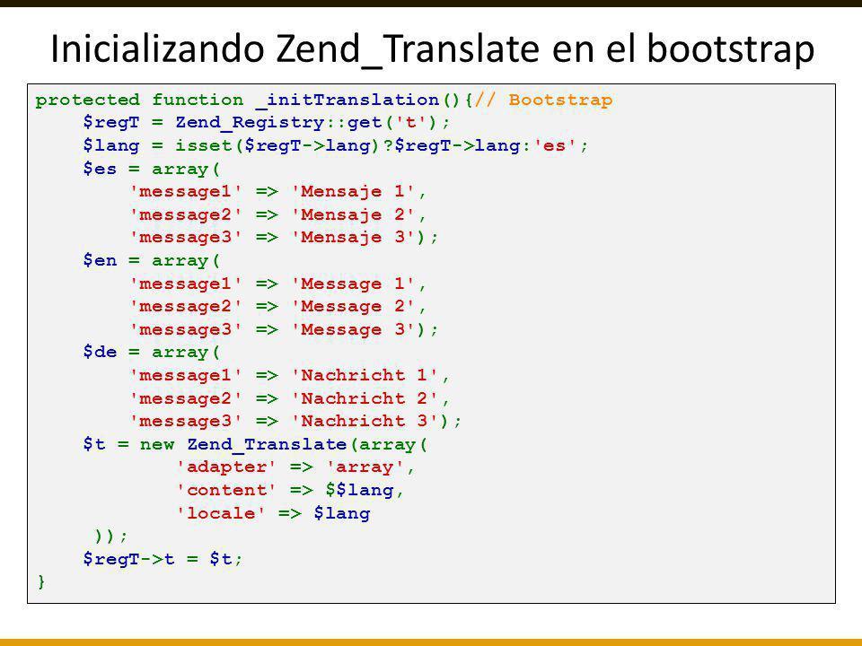 Inicializando Zend_Translate en el bootstrap