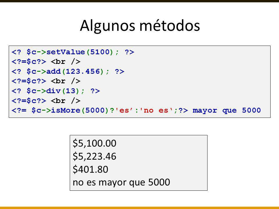 Algunos métodos $5,100.00 $5,223.46 $401.80 no es mayor que 5000