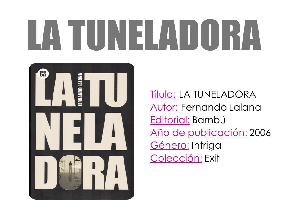 LA TUNELADORA Título: LA TUNELADORA Autor: Fernando Lalana