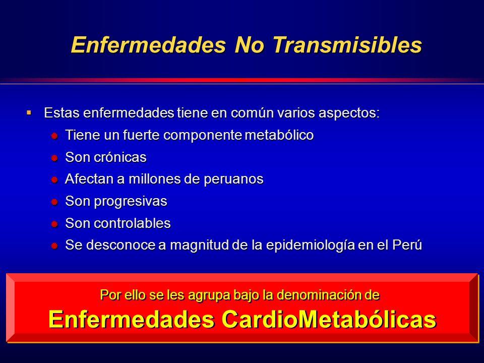 Enfermedades No Transmisibles Enfermedades CardioMetabólicas
