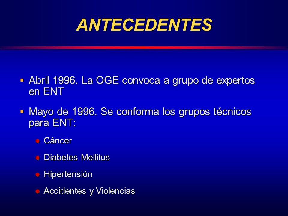 ANTECEDENTES Abril 1996. La OGE convoca a grupo de expertos en ENT