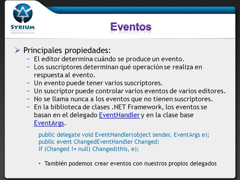 Eventos Principales propiedades: