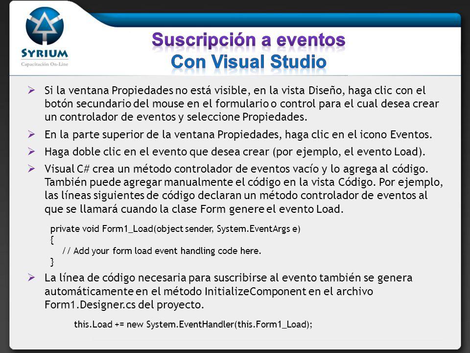 Suscripción a eventos Con Visual Studio