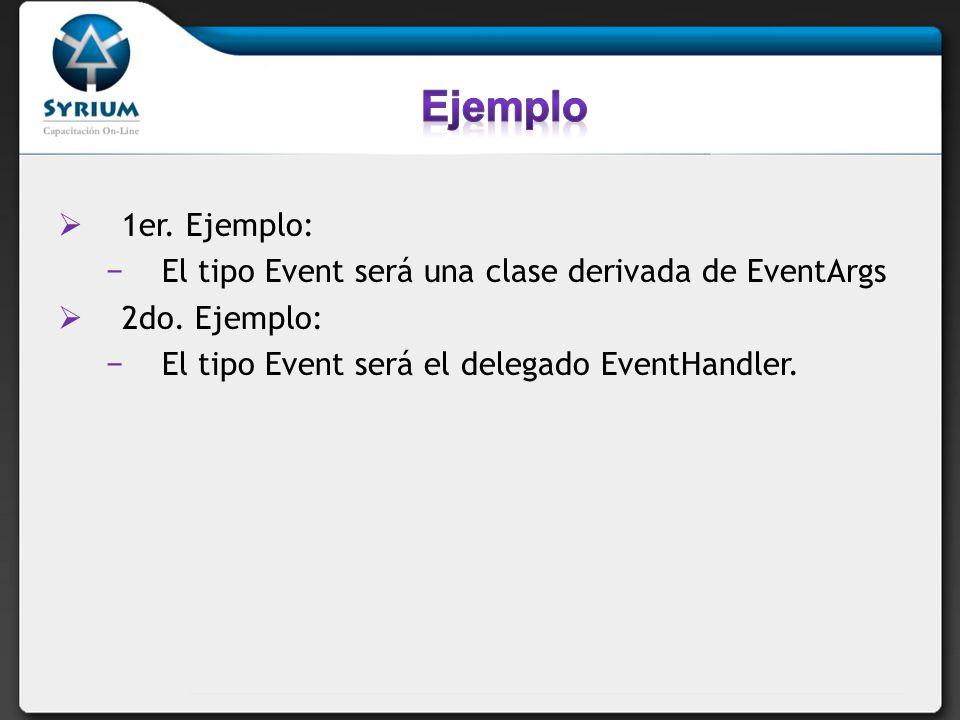 Ejemplo 1er. Ejemplo: El tipo Event será una clase derivada de EventArgs.