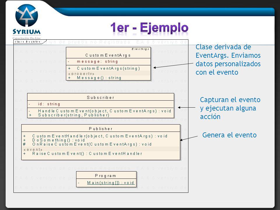 1er - Ejemplo Clase derivada de EventArgs. Enviamos datos personalizados con el evento. Capturan el evento y ejecutan alguna acción.